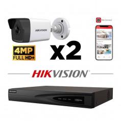 Kit vidéosurveillance 2 caméras IP tube full HD+ 4MP H265+