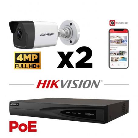 Kit vidéosurveillance PoE 2 caméras IP tube ultra HD 4MP