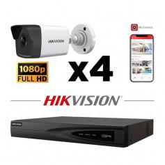 Kit vidéosurveillance 4 caméras IP tube full HD 2MP H265+