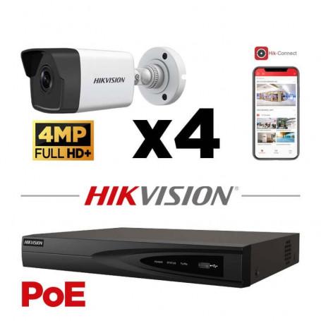 Kit vidéosurveillance PoE 4 caméras IP tube ultra HD 4MP