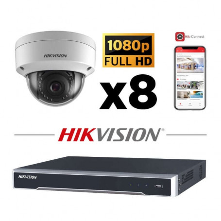 Kit vidéosurveillance 8 caméras IP dôme full HD 2MP