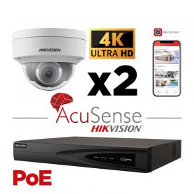 Kit vidéosurveillance AcuSense 2 caméras 4K H265+ vision de nuit IR 30 mètres